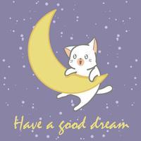 bébé chat blanc et lune.