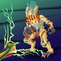 Alien en style cartoon. vecteur