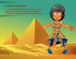 Personnage égyptien sur fond de pyramides.