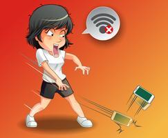 Elle a jeté le téléphone parce que le wifi est désactivé. vecteur