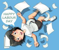 Bonne fête du travail en style cartoon. vecteur