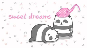 Panda est en train de bercer son ami. vecteur