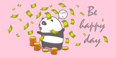 panda millionnaire en style cartoon.