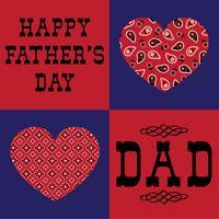 papa fête des pères avec des coeurs de bandana rouge