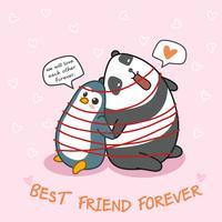 Le pingouin et le panda sont amis.