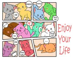 Chats mignons dans un style bande dessinée.