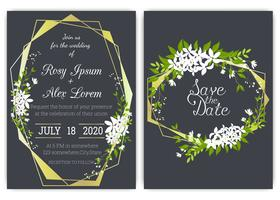 Carte d'invitation de mariage Cadre floral dessiné à la main. vecteur
