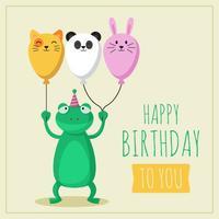 Joyeux anniversaire animaux concept vecteur