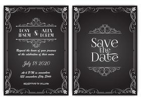 Ensemble de vecteur de cartes d'invitation avec des éléments Collection de mariage.