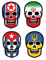 ensemble, emblème avec crâne vecteur