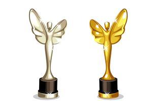 Beau trophée de récompense en couleur or et argent vecteur