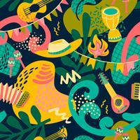 Fête latino-américaine, la fête du mois de juin au Brésil. Festa Junina. Modèle sans couture vecteur