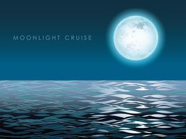 Paysage marin avec la pleine lune et son reflet. vecteur