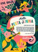 Fête latino-américaine, la fête du mois de juin au Brésil. Festa Junina. vecteur