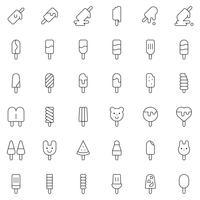 Glace pop icon set vector, style de ligne