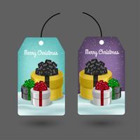 Ensemble de vecteur d'étiquettes avec des cadeaux. Neige, hiver, flocon de neige