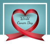 Ruban de vecteur en forme de coeur. Journée mondiale du cancer. La Saint Valentin