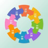 Diagramme circulaire, infographie de flèches circulaires ou modèles de diagramme de cycle vecteur