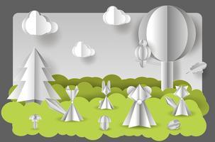 Illustration vectorielle de papier coupé avec des couches. vecteur