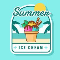Insigne de crème glacée d'été vecteur