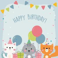 Carte de voeux joyeux anniversaire animal vecteur
