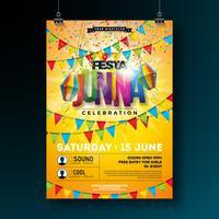 Festa Junina Party Flyer Design avec drapeaux, lanterne en papier et conception de typographie sur fond jaune. Illustration de festival de vecteur traditionnel Brésil juin