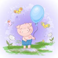 Carte postale mignonne, cochon avec un ballon, des fleurs et des papillons. Style de bande dessinée. Vecteur