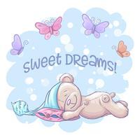 Carte postale ours mignon endormi et papillons. Style de bande dessinée. Vecteur