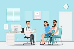 Concept médical avec médecin et patients en dessin animé plat sur le hall de l'hôpital vecteur