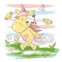 Cartes postales mignonnes fleurs et papillons de licorne. Style de bande dessinée