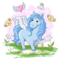 Illustration d'un pegasus de cheval mignon dessin animé sur un fond arc en ciel. Vecteur
