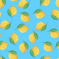 Citrons jaune modèle sans couture sur fond bleu. Illustration vectorielle
