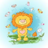 Carte postale mignonne lionceau fleurs et papillons. Style de bande dessinée vecteur