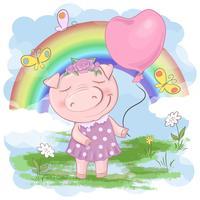 Illustration d'une caricature de cochon mignon sur un fond arc en ciel. Vecteur