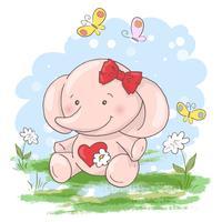 Cartes postales mignonnes petites fleurs d'éléphant et papillons. Style de bande dessinée