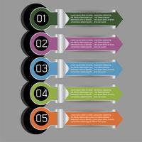 5 étape de l'étiquette de vecteur moderne graphipc info pour projet d'entreprise