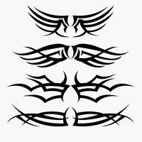 Modèles de tatouage tribal. concept en gothique ayant l'aile et la mouche vecteur