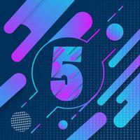 Logo anniversaire 5ème année et signe avec fond géométrique coloré vecteur