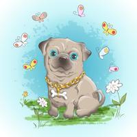 Illustration carte postale mignon petit chien bouledogue et papillons. Impression sur les vêtements et la chambre des enfants