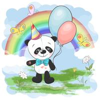 Illustration carte postale mignon petit panda avec des ballons sur un fond d'arc en ciel et des nuages. Impression sur les vêtements et la chambre des enfants