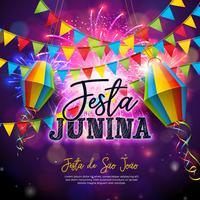 Festa Junina Illustration avec drapeaux et lanterne en papier sur fond de feu d'artifice. Conception de festival de vecteur Brésil juin