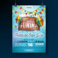 Festa Junina Party Flyer Illustration avec la conception de la typographie sur une planche en bois vintage. Drapeaux et lanterne en papier sur fond de ciel bleu. Conception de festival de vecteur Brésil juin