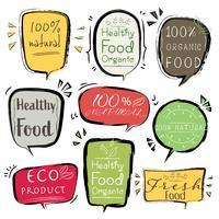 Ensemble de bannière produit ECO, aliments naturels, végétaliens, biologiques, frais et sains. Illustration vectorielle vecteur