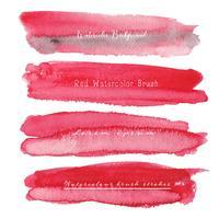Ensemble de fond aquarelle rouge, logo de trait de pinceau, illustration vectorielle.