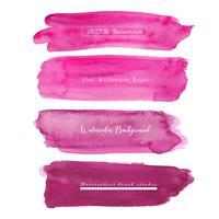 Ensemble de fond aquarelle rose, logo de trait de pinceau, illustration vectorielle.