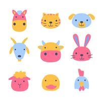 Animal de compagnie Cartoon Faces Faces Set