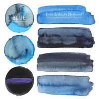 Ensemble d'aquarelle bleue sur fond blanc, aquarelle de pinceau, illustration vectorielle.