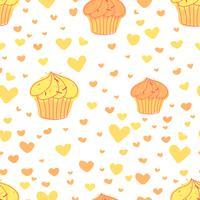 Cupcakes de fond, modèle de boulangerie mignon, illustration vectorielle. vecteur