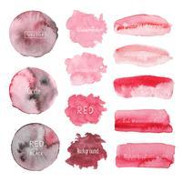 Ensemble d'aquarelle rouge sur fond blanc, logo aquarelle, illustration vectorielle.
