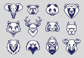 Tête d'animaux mascotte icônes vectorielles ensemble vecteur